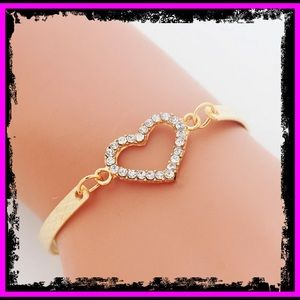 🆕 9k Rose Gold CZ Diamond Heart Bracelet